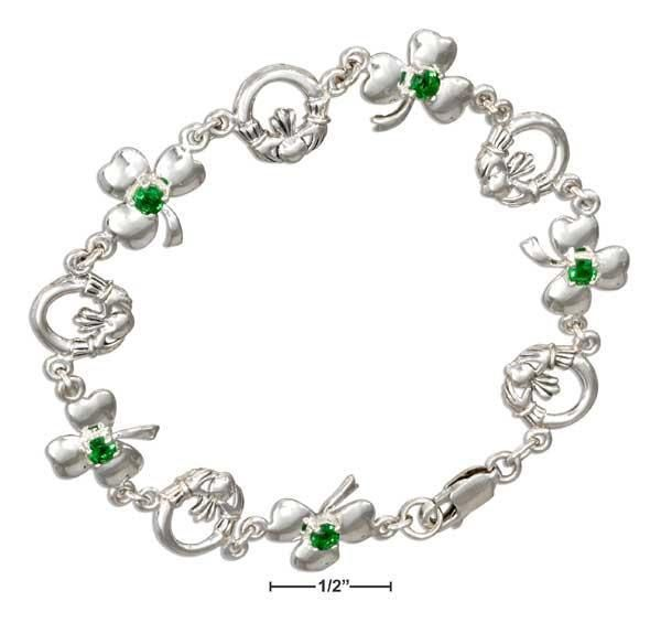 """Sterling Silver 7"""" Claddagh And Shamrock Bracelet With Green Glass"""