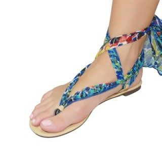 Shutini's Tropical Escape Strap features a long, patterned strap made out of luxurious chiffon.  On #sale for $9.95. #shoes