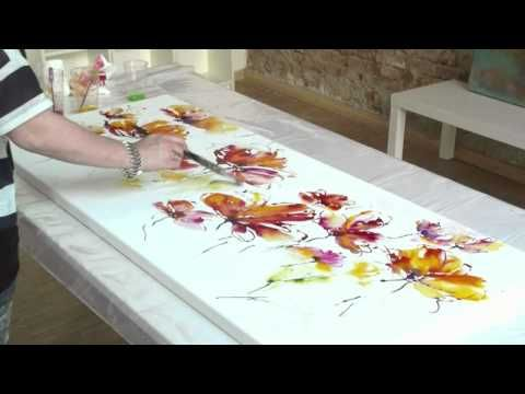 Abstract floral acrylic Painting demo XL - Abstrakte florale Malerei XL -zAcheR-fineT - YouTube