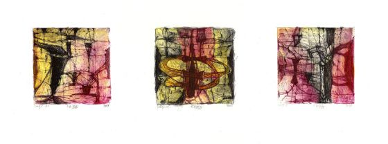 Pál Csaba / Cage/ colored, dry point /2013