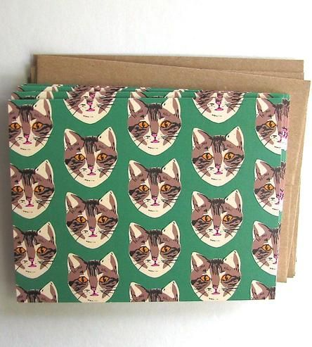green cat pattern cards by la familia green $13
