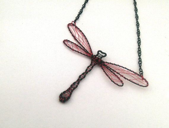 OOAK Wire Wrapped Black And Red Dragonfly by DragonflyHJewellery