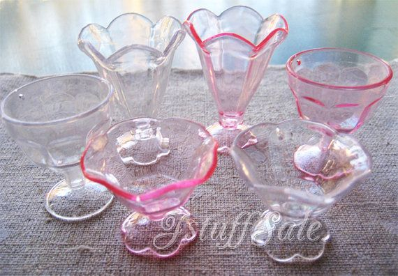 6 miniature parfait sundae glass ice cream cups MIX on Etsy, Sold