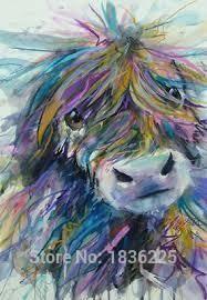 Ücretsiz Shippig 100% Handpainted karikatür hayvan mutlu komik İnek Yağlıboya resim Tuval On Wall Art Resimleri Ev Dekorasyon üst satmak