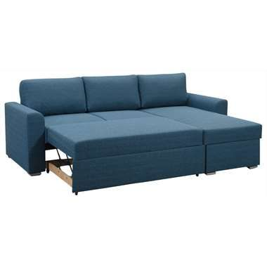 Slaapzetel Bern - blauw - 64x226x165 cm | Leen Bakker