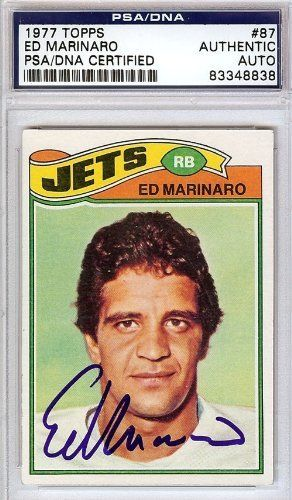 Ed Marinaro Autographed/Hand Signed 1977 Topps Card PSA/DNA #83348838 by Hall of Fame Memorabilia. $56.95. This is a 1977 Topps Card that has been hand signed by Ed Marinaro. It has been authenticated by PSA/DNA and comes encapsulated in their tamper-proof holder.