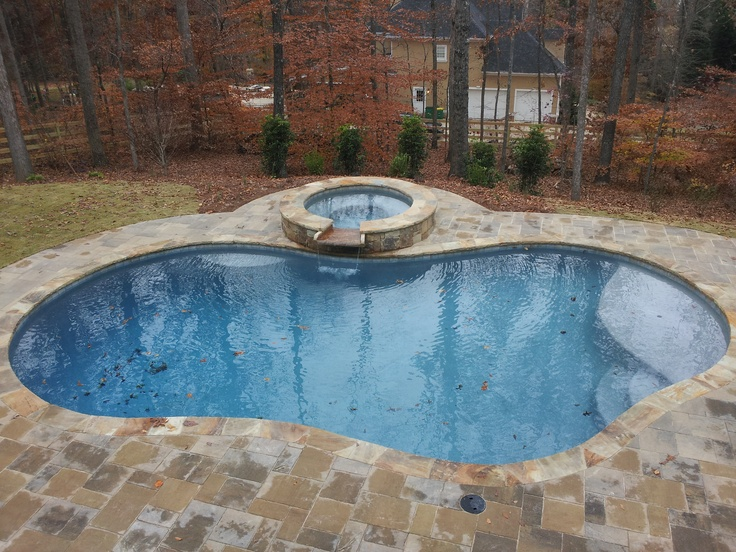 Antigua blue pool with pavers and flagstone coping pools Flagstone pavers around pool