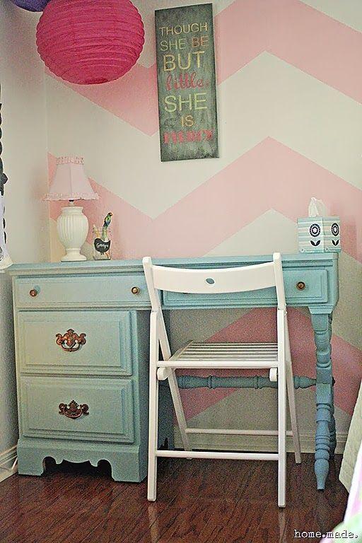 Turquoise Desk Redo.  Something like this for Allie's room.