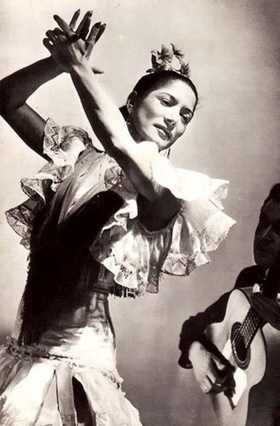 Legendary flamenco dancer Carmen Amaya: Flamenco is a form of Spanish folk music and dance from the region of Andalusia in southern Spain. It includes cante (singing), toque (guitar playing), baile (dance) and palmas (handclaps).