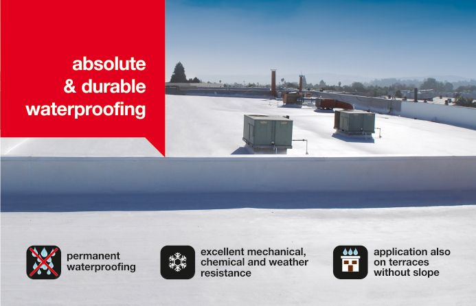 ISOFLEX-PU 500 is based on 100% elastomeric hydrophobic polyurethane resins and forms an elastic seamless membrane that is mechanical, chemical, thermal, weather and UV resistant.  It is used both in construction and in highway engineering for the absolute waterproofing of flat roofs (especially in industrial buildings), terraces, bridge decks, tunnels etc.  It can also be applied on terraces without slope.