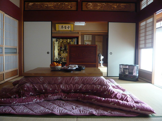 Kotatsu - Japanese foot warmer (small table with an electric heater with a quilt over it)