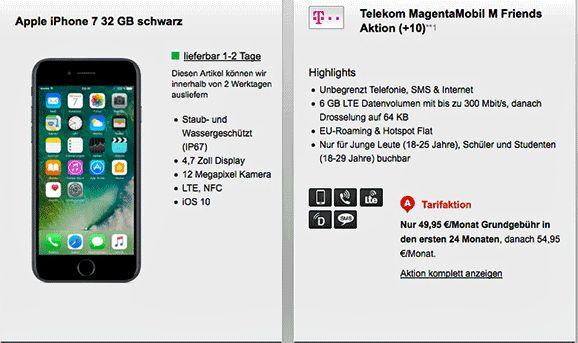 Junge Leute Tarif MagentaMobil M Friends mit Apple iPhone 7 32 GB zum Vertrag , im Telekom MagentaMobil M Friends 6 GB LTE Internet-Flat , Telefon Allnet-Flat , EU-Roaming ,Hotspot Flat und eine SMS Flatrate im Telekom Netz.   #Apple iPhone 7 #Telekom MagentaMobil #Telekom Mobilfunk