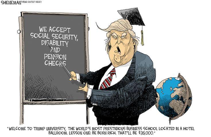 Editorial cartoon on Donald Trump and Trump University