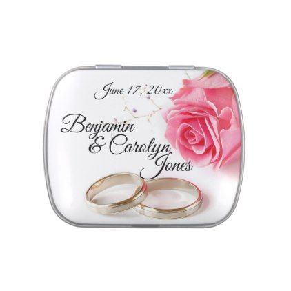 Pink Rose Wedding Ring Favor Jelly Belly Candy Tin - flowers floral flower design unique style
