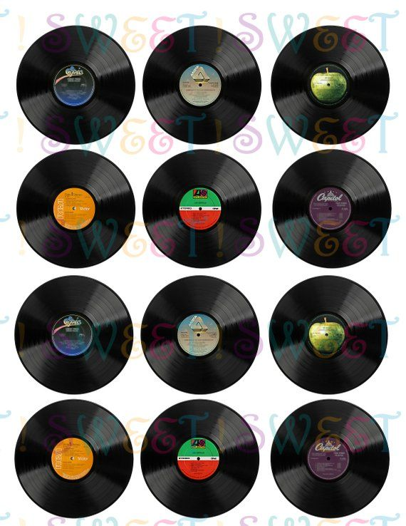 Edible Vinyl Record Cupcake Cookie Oreo Or Drink Toppers Wafer