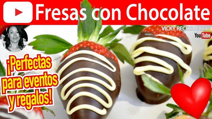 CÓMO HACER FRESAS CON CHOCOLATE | Vicky Receta Facil ❤️