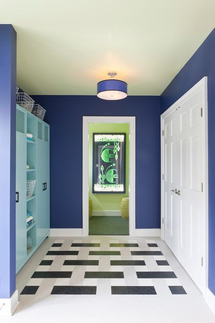contemporary laundry room by DC Design House Great use of inexpensive floor tile placed in a pattern utilizing different values