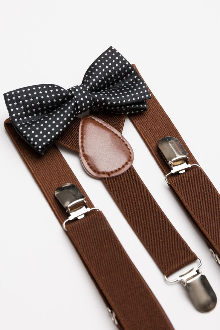 Unique and fun polka dot bow tie and suspenders set. Both the bow tie and suspenders are adjustable to fit your price as he grows. This is a great set to complete your little man's outfit. Goes perfec