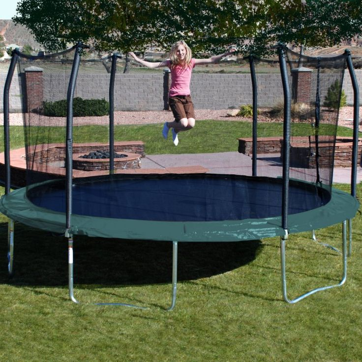 Skywalker Trampolines 17 ft. Oval Trampoline with Safety Enclosure Green - SKW069-2