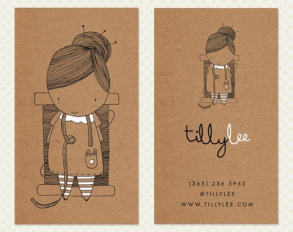Seamstress Business Card Design. Sewing Business Card Design. Kraft Paper Business Card. Cute Character Calling Card. Kawaii Business Card