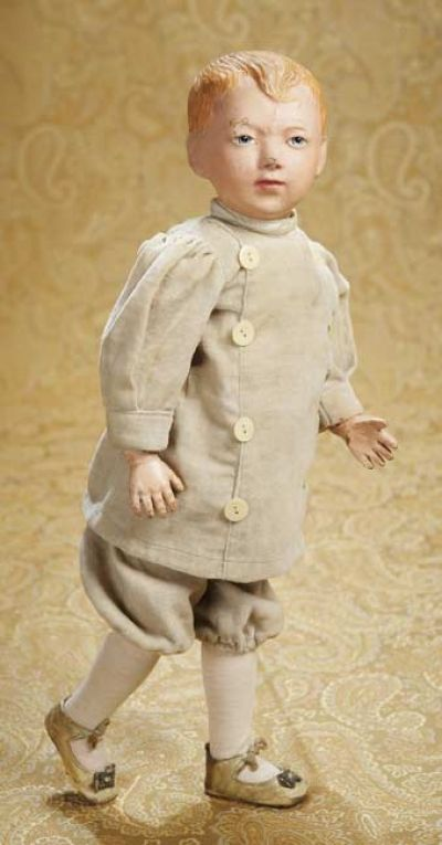 The Well-Bred Doll: 193 American Wooden Boy by Schoenhut with Carved Hair,Model 202