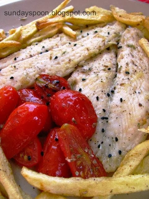 Fish fillet with cherry tomatoes and ouzo / Φιλέτα παγκάσιους με ντοματίνια και ούζο