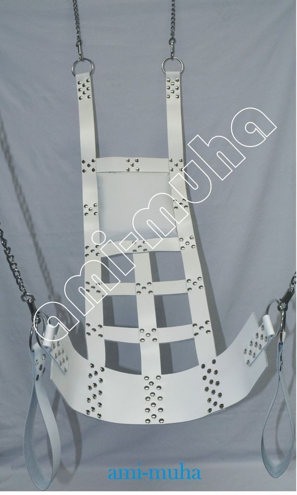 White Chorme Leather Sex Swing Sling More Fun For Adults