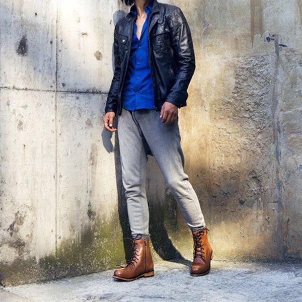 Men Genuine Leather Retro Side Zipper Metal Buckle High Top Work Boots