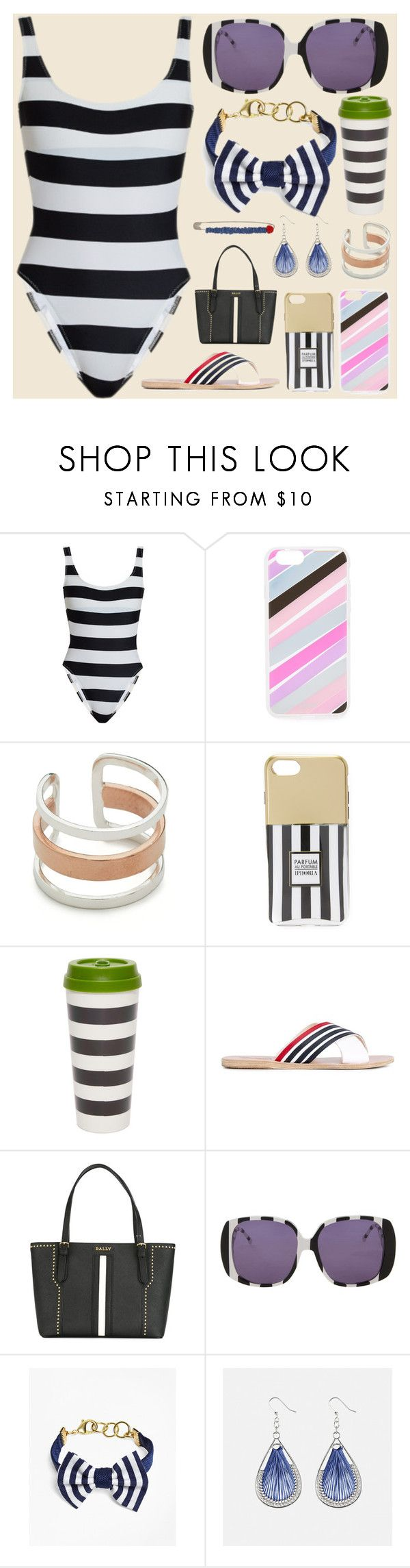 """Beatch things"" by camry-brynn ❤ liked on Polyvore featuring Norma Kamali, Maya Magal, Iphoria, Kate Spade, Ancient Greek Sandals, Bally, Brooks Brothers, Avenue and Alice Visin"