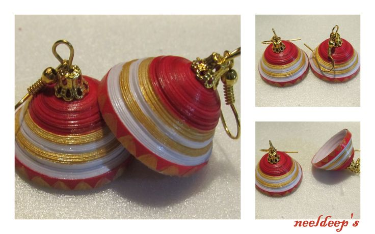 Red & white Jhumka .