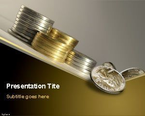 Free Capital PowerPoint Template with coins in a diagonal table is a nice background template for PowerPoint with different coin stacks in the slide design and gray background and a negative trend which may be useful for presentations on cash capital crisis or the crisis of capital like India's capital crisis or other capital related presentations like financial crisis