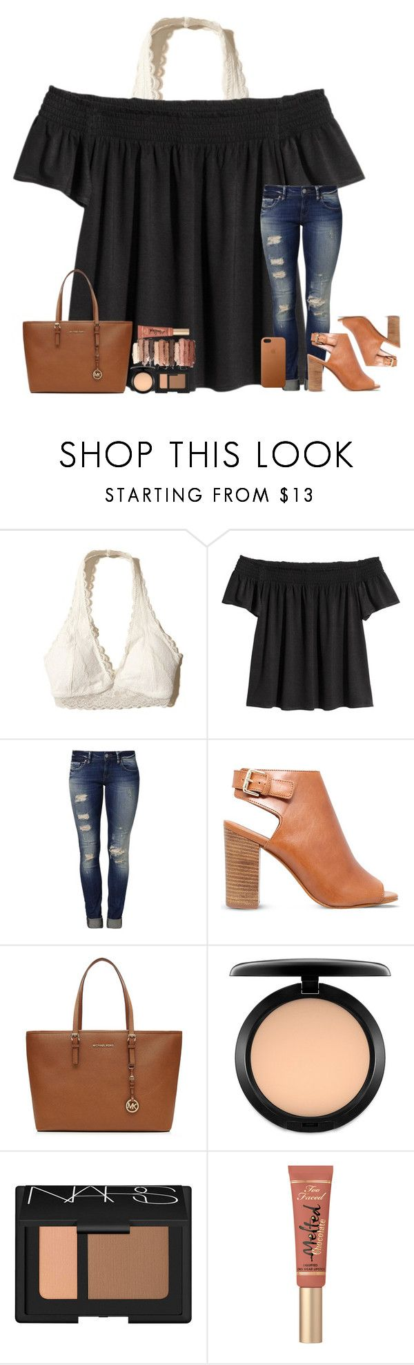 """""""Let's Take Time To Fall In Love Again"""" by theafergusma ❤ liked on Polyvore featuring Hollister Co., Mavi, Carvela, MICHAEL Michael Kors, tarte, MAC Cosmetics, NARS Cosmetics and Apple"""