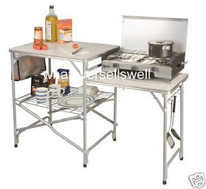 Folding Camping Kitchen Side Table Stand Field Camp New Foldable Camp Cooking Table Pinterest Camping Camping Stove And Camping Furniture