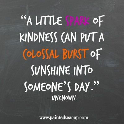 "8 quotes to celebrate world kindness day. ""A little spark of kindness can put a colossal burst of sunshine into someone's day."" –Unknown"