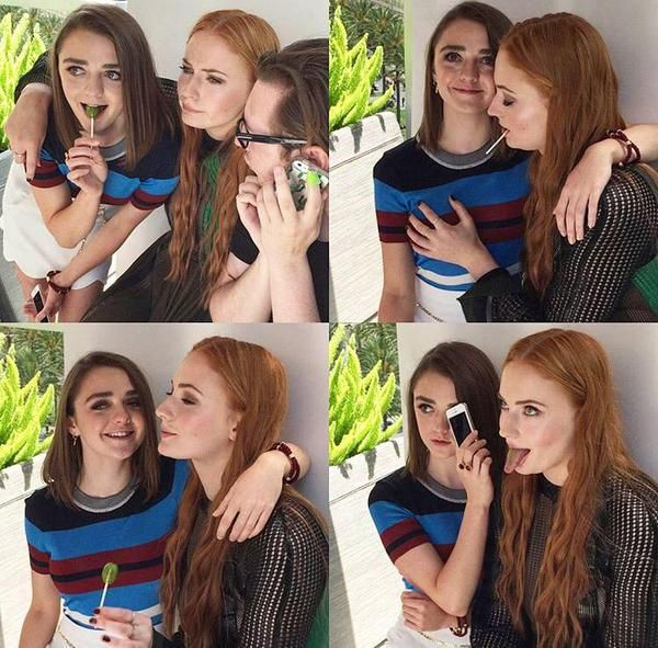 Maisie Williams and Sophie Turner at #ComicCon #SDCC