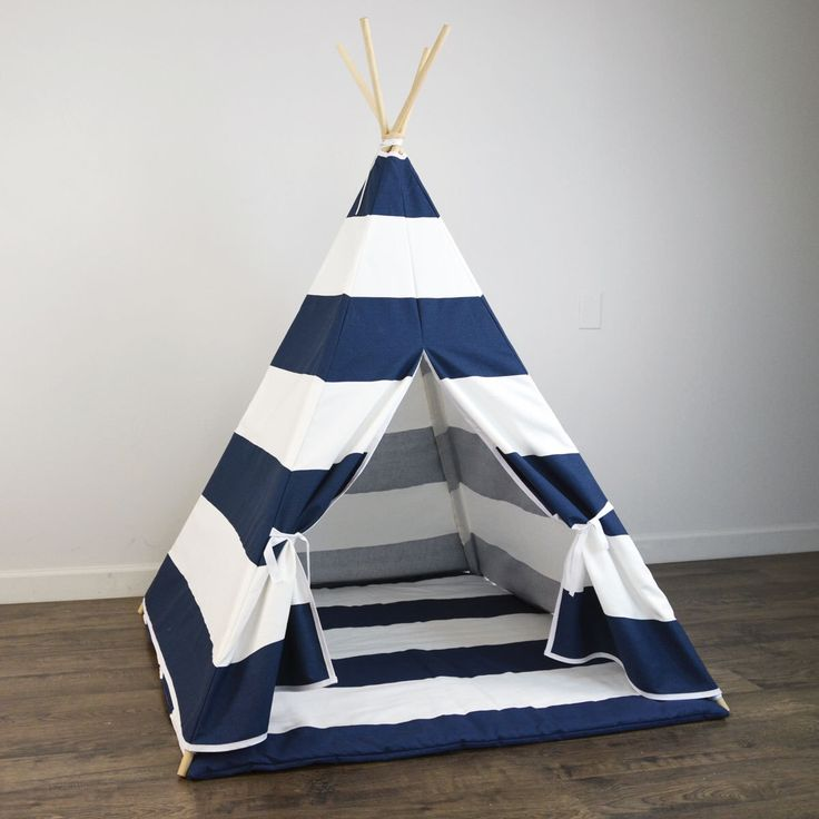 Kids Play Teepee and Play Mat in Navy Blue and White Large Horizontal Stripe Tipi Canvas