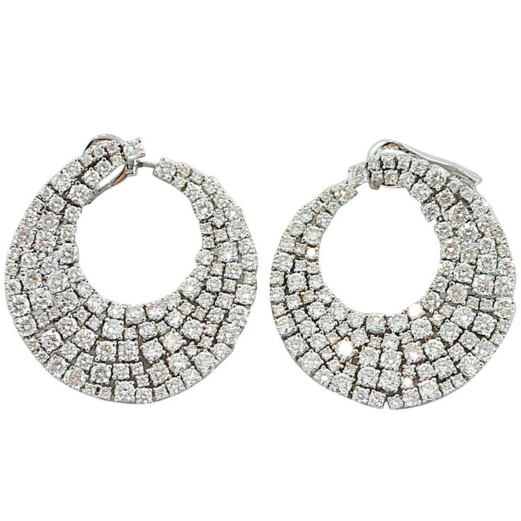 Jona Diamond Gold Swirl Earrings | From a unique collection of vintage clip-on earrings at https://www.1stdibs.com/jewelry/earrings/clip-on-earrings/