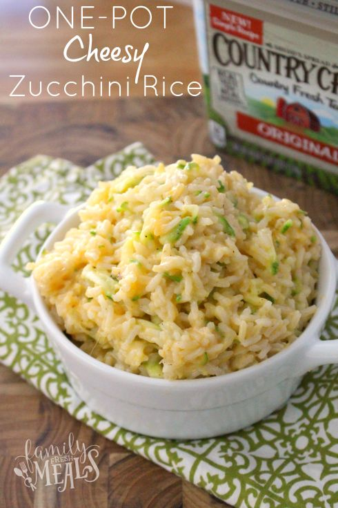 You are going to love this One Pot Cheesy Zucchini Rice. It uses just one pot, is ready in 30 minutes and will make your family happy about eating zucchini.