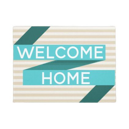 Modern Teal Ribbon & Stripes Welcome Home Doormat - modern gifts cyo gift ideas personalize