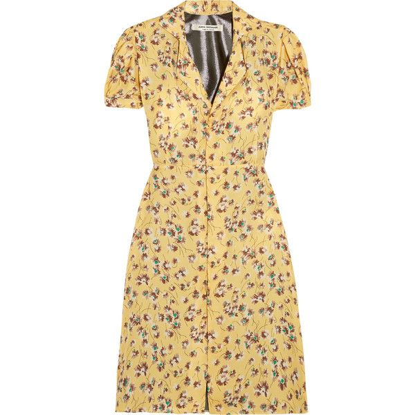 Junya Watanabe Floral-print chiffon and lamé dress ($765) ❤ liked on Polyvore featuring dresses, multi-color dresses, floral tea dress, puff sleeve dress, puffed sleeve dress and colorful dresses