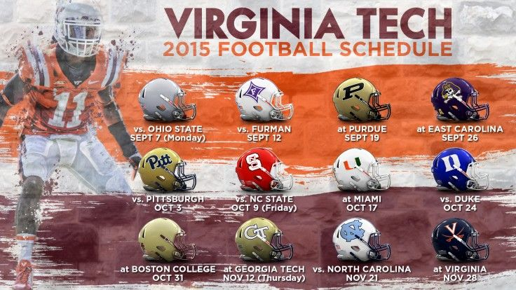 Virginia Tech's 2015 football schedule.  Can they beat the National Champion Ohio State Buckeyes again in 2015?