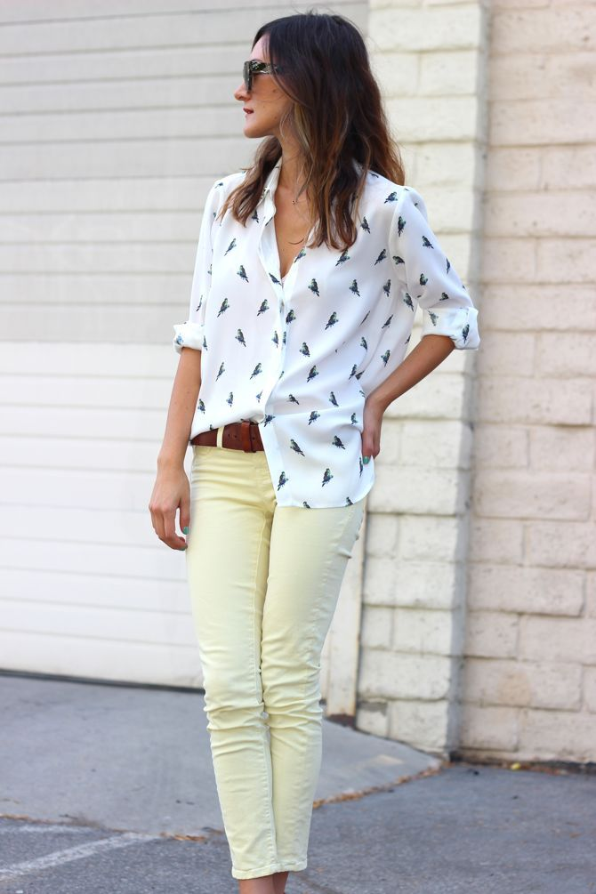 pastel pants + blouse