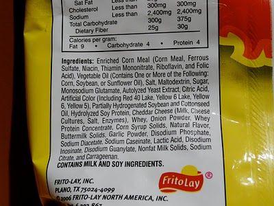 Cheetos ingredients