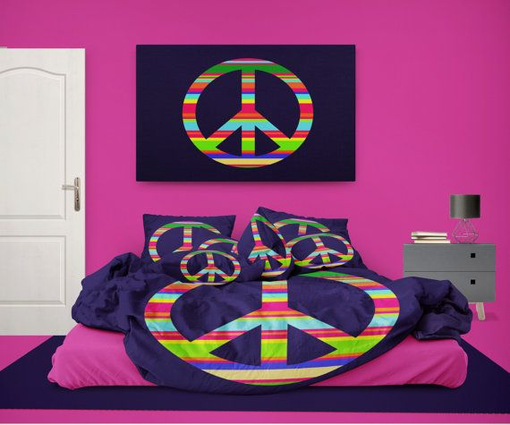 Colorful Peace Sign on Navy Blue Comforter by PeaceSignBedding