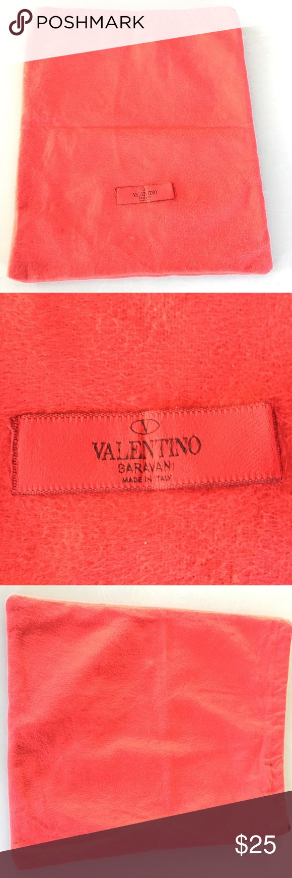 """Valentino Garavani Tote Valentino Garavani made in Italy Red 13""""x11"""" Cinch Bag is a soft Velvet like exterior fabric with a protective interior red mesh fabric for traveling with delicate pieces.  Original purchase was sandals ($500) that came in this bag Valentino Garavani Bags Mini Bags"""