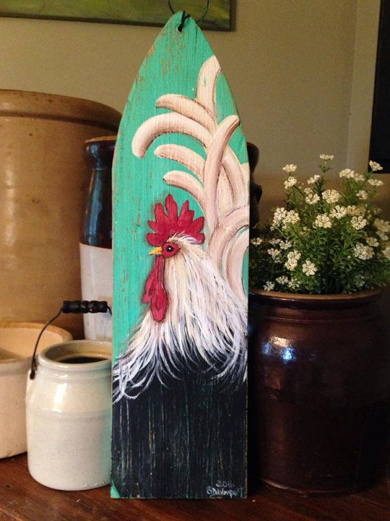 rooster sign rooster painting rooster decor by CottageDesignStudio