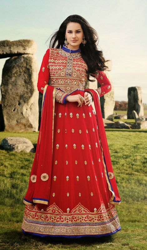 Red Embroidered Georgette Long Pakistani Suit Price: Usa Dollar $148, British UK Pound £87, Euro109, Canada CA$161 , Indian Rs7992.