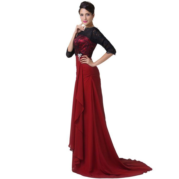 Dark red floor length dress - Google Search   My Closet ...