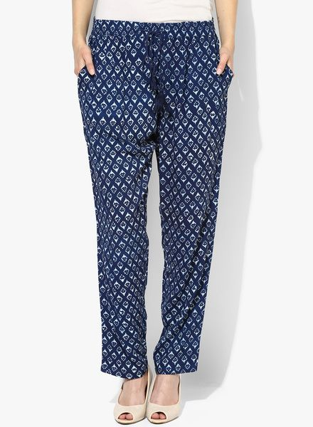 Buy People Blue Printed Rayon Coloured Pant for Women Online India, Best Prices, Reviews   PE138WA33LTAINDFAS