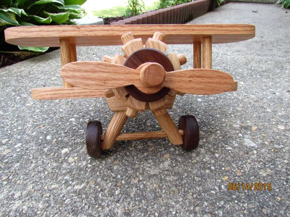 Wooden Airplane Large  Handmade toys   Red  Oak and  by mikebtoys